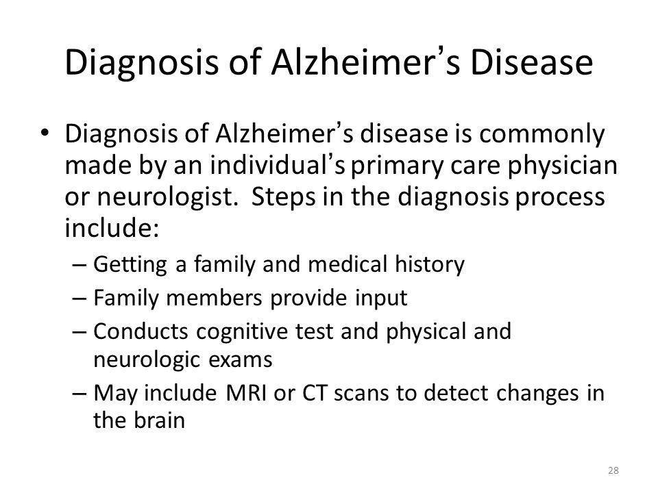 diagnosis of alzheimers disease