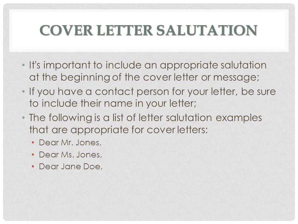 General salutations for cover letters Essay Sample