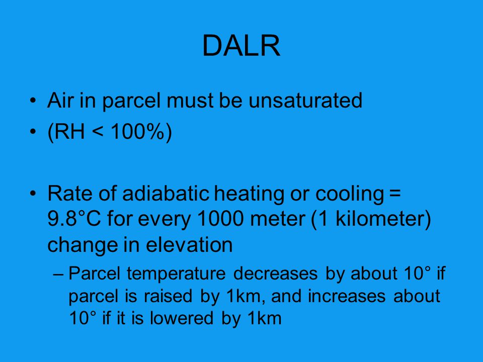DALR Air in parcel must be unsaturated (RH < 100%)