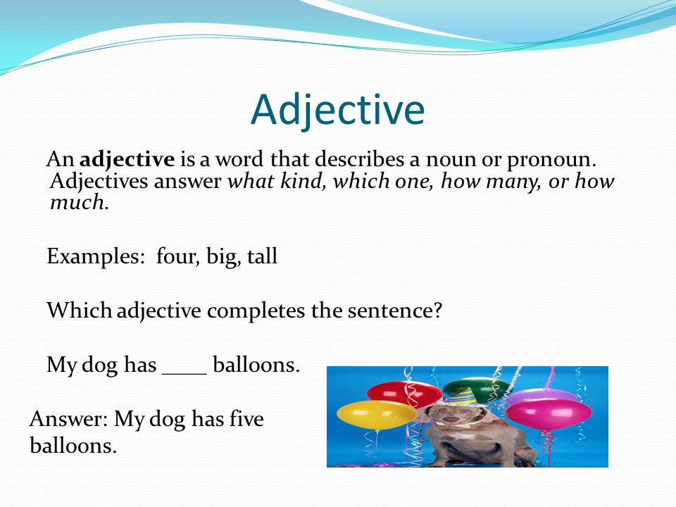 Adjective An adjective is a word that describes a noun or pronoun. Adjectives answer what kind, which one, how many, or how much.