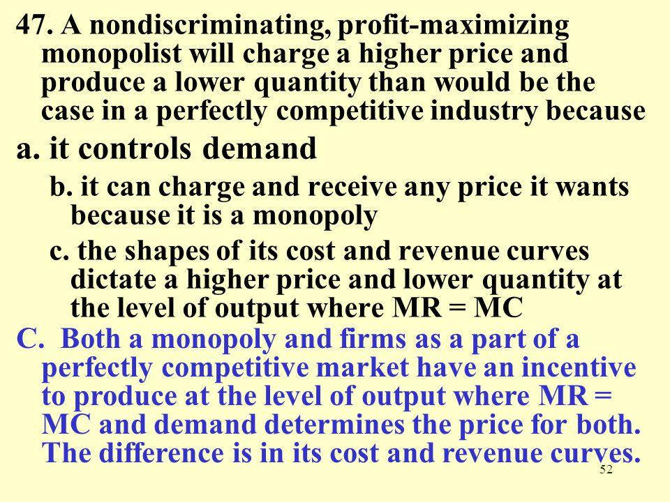 a nondiscriminating profit maximizing monopolist
