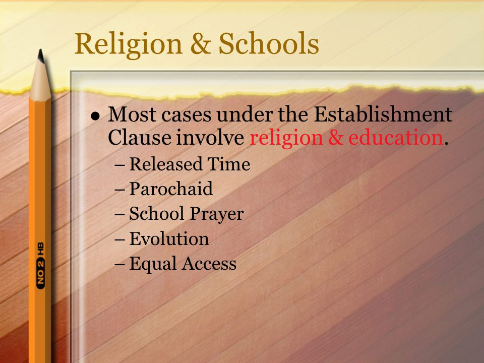 ambiguities of the establishment clause essay Abington school district v schempp , 374 us 203 (1963), [1] was a united states supreme court case in which the court decided 8-1 in favor of the respondent, edward schempp, and declared school-sponsored bible reading in public schools in the united states to be unconstitutional.