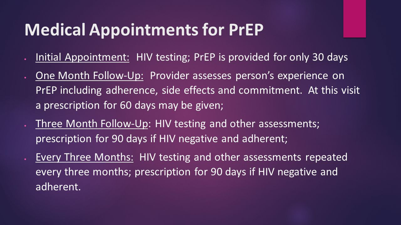 Medical Appointments for PrEP