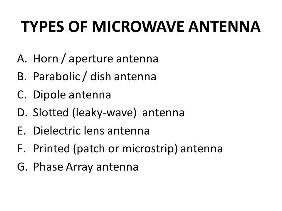 Types Of Microwave Antenna