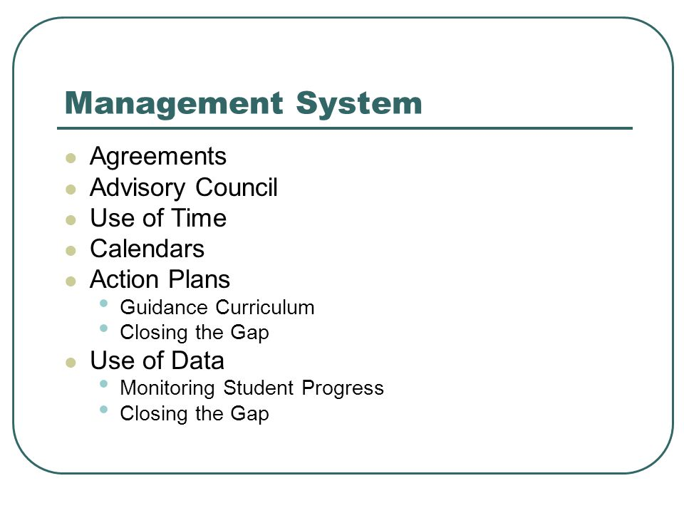 Management System Agreements Advisory Council Use of Time Calendars