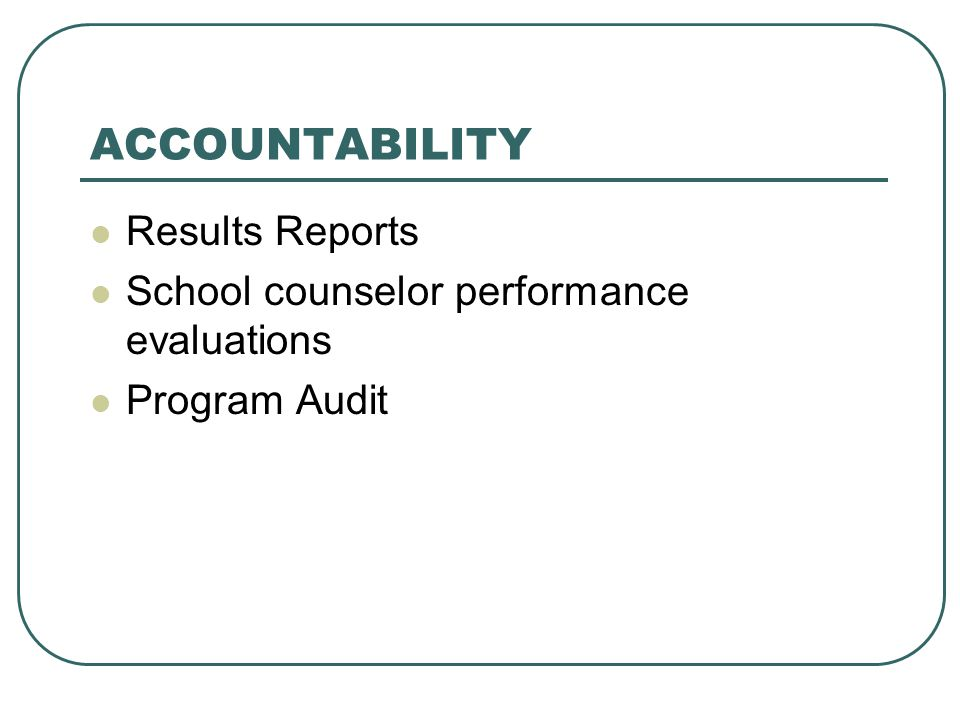 ACCOUNTABILITY Results Reports