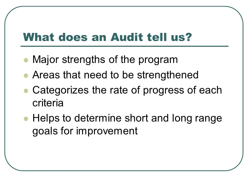 What does an Audit tell us