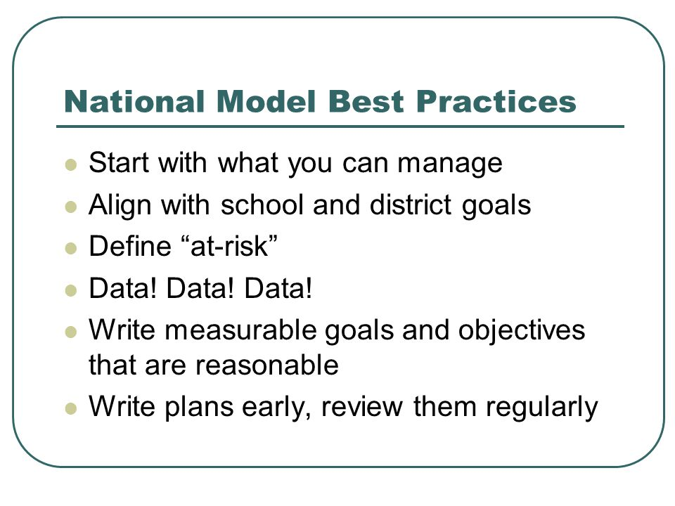 National Model Best Practices