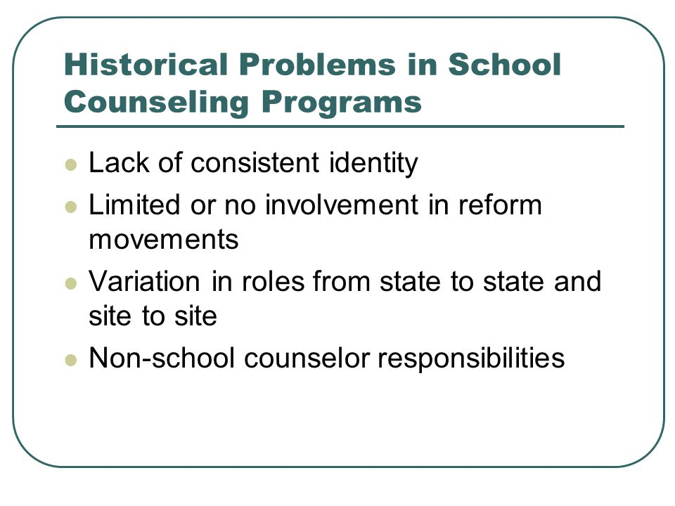 Historical Problems in School Counseling Programs