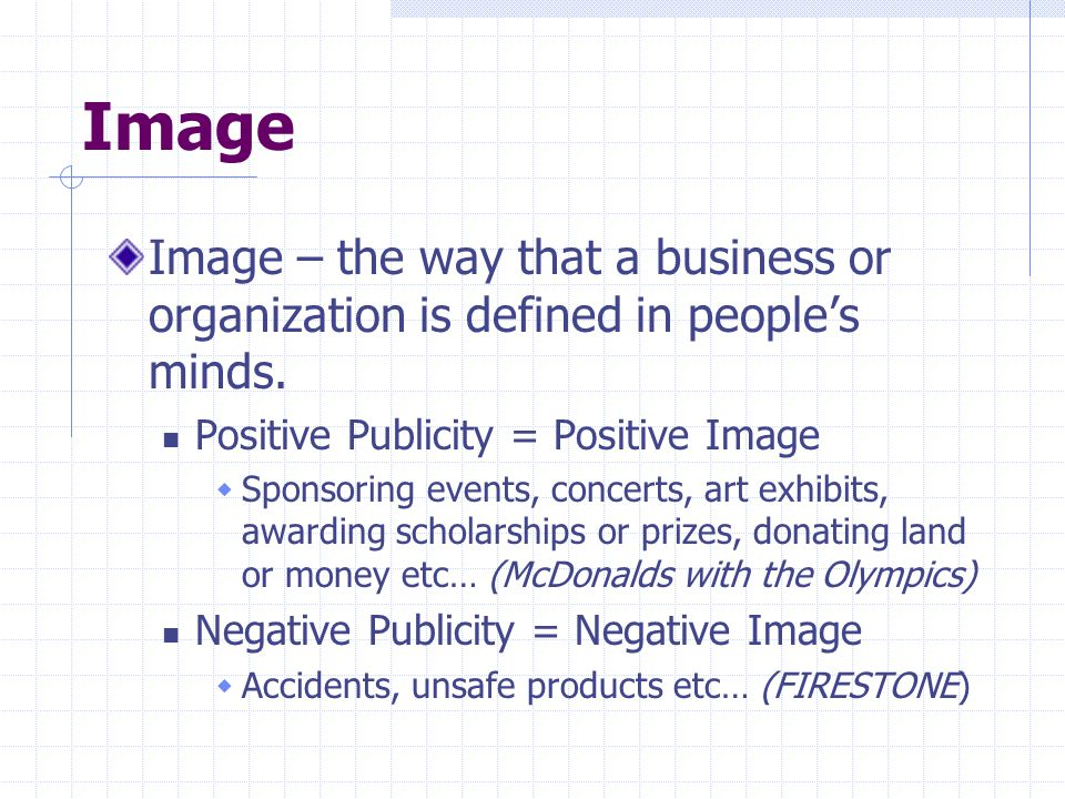 Image Image – the way that a business or organization is defined in people's minds. Positive Publicity = Positive Image.