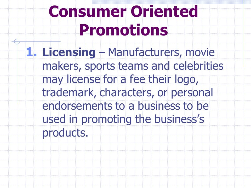Consumer Oriented Promotions