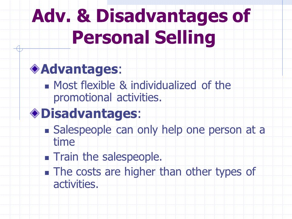 Adv. & Disadvantages of Personal Selling