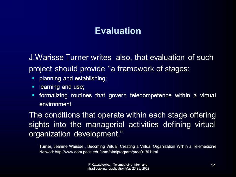 Evaluation J.Warisse Turner writes also, that evaluation of such