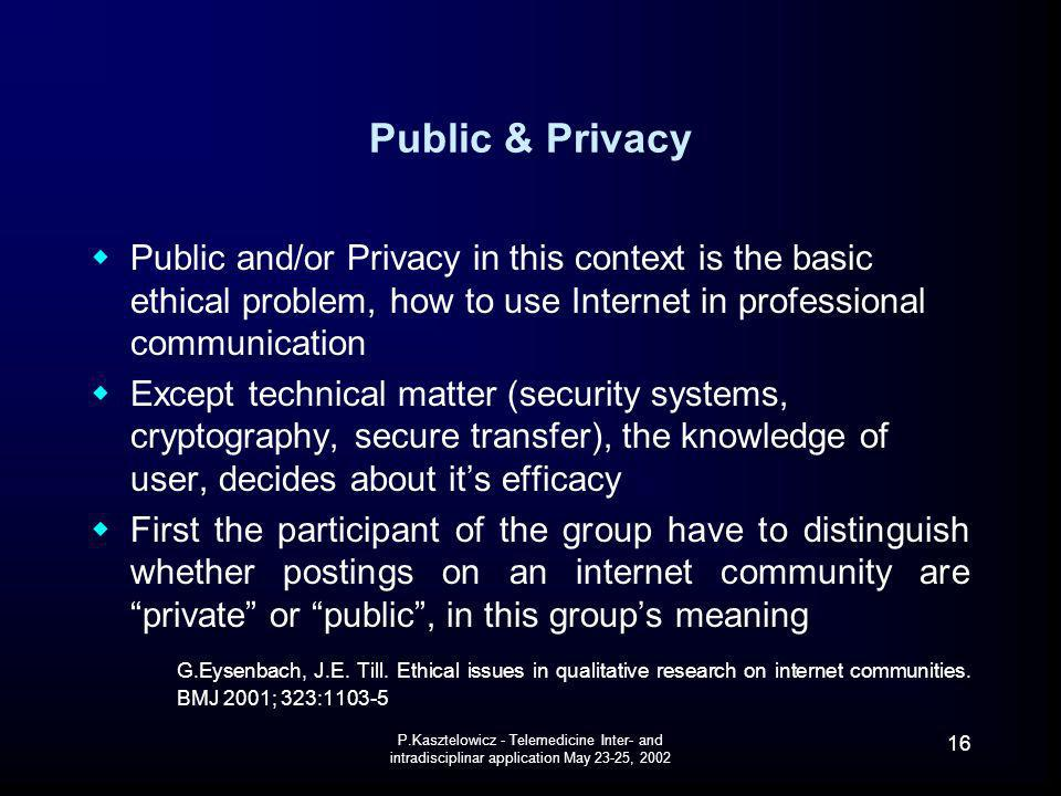 Public & Privacy Public and/or Privacy in this context is the basic ethical problem, how to use Internet in professional communication.