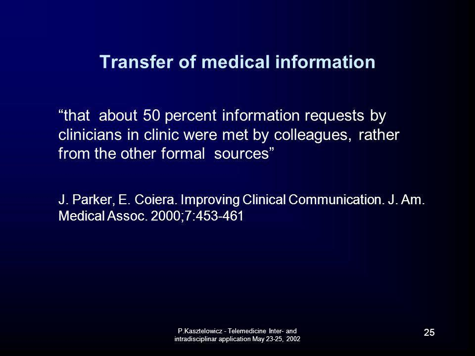 Transfer of medical information