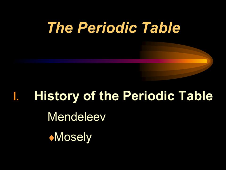 History of the Periodic Table Mendeleev Mosely