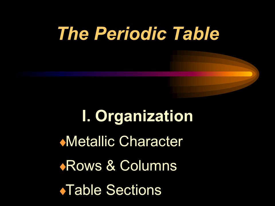 I. Organization Metallic Character Rows & Columns Table Sections