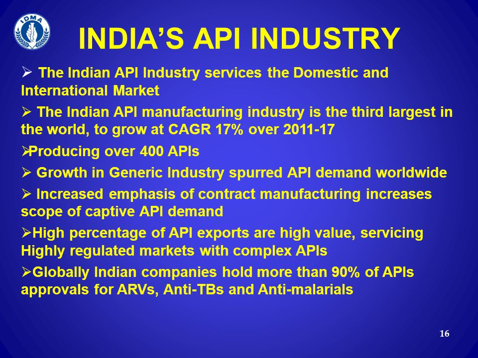 INDIA'S API INDUSTRY The Indian API Industry services the Domestic and International Market.