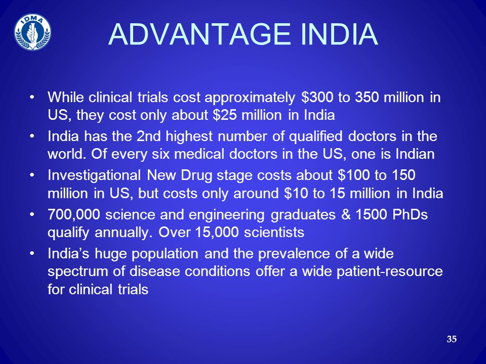 ADVANTAGE INDIA While clinical trials cost approximately $300 to 350 million in US, they cost only about $25 million in India.