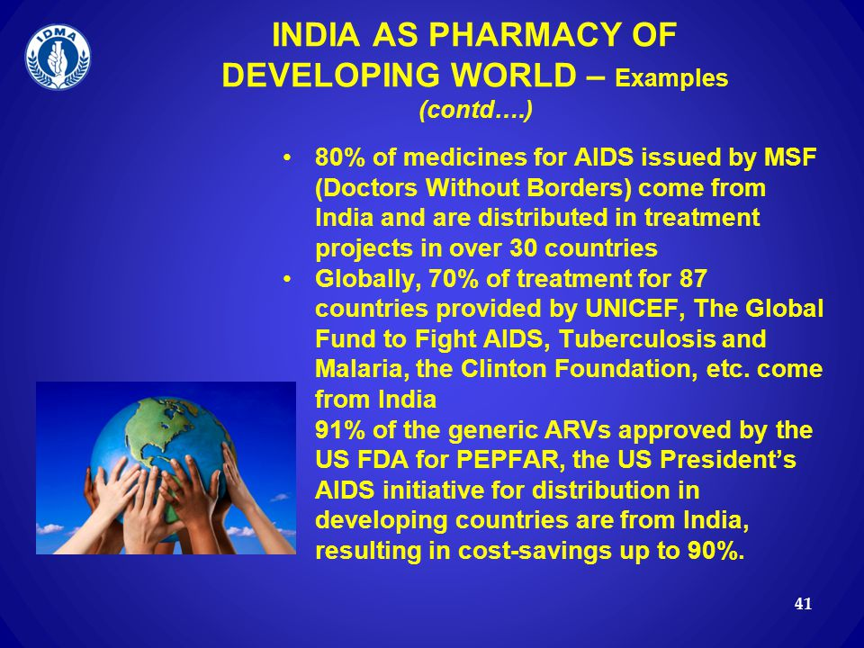 INDIA AS PHARMACY OF DEVELOPING WORLD – Examples (contd….)
