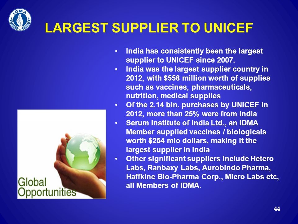 LARGEST SUPPLIER TO UNICEF