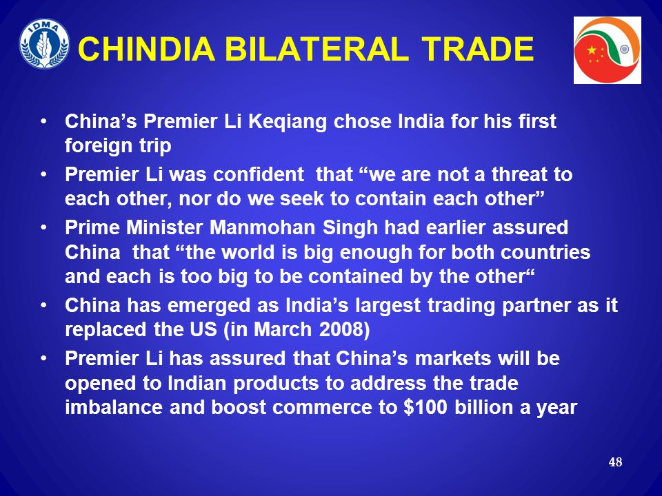 CHINDIA BILATERAL TRADE