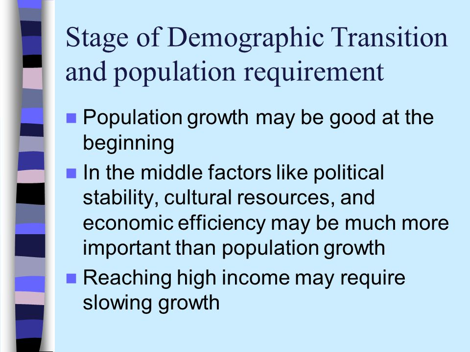 Stage of Demographic Transition and population requirement