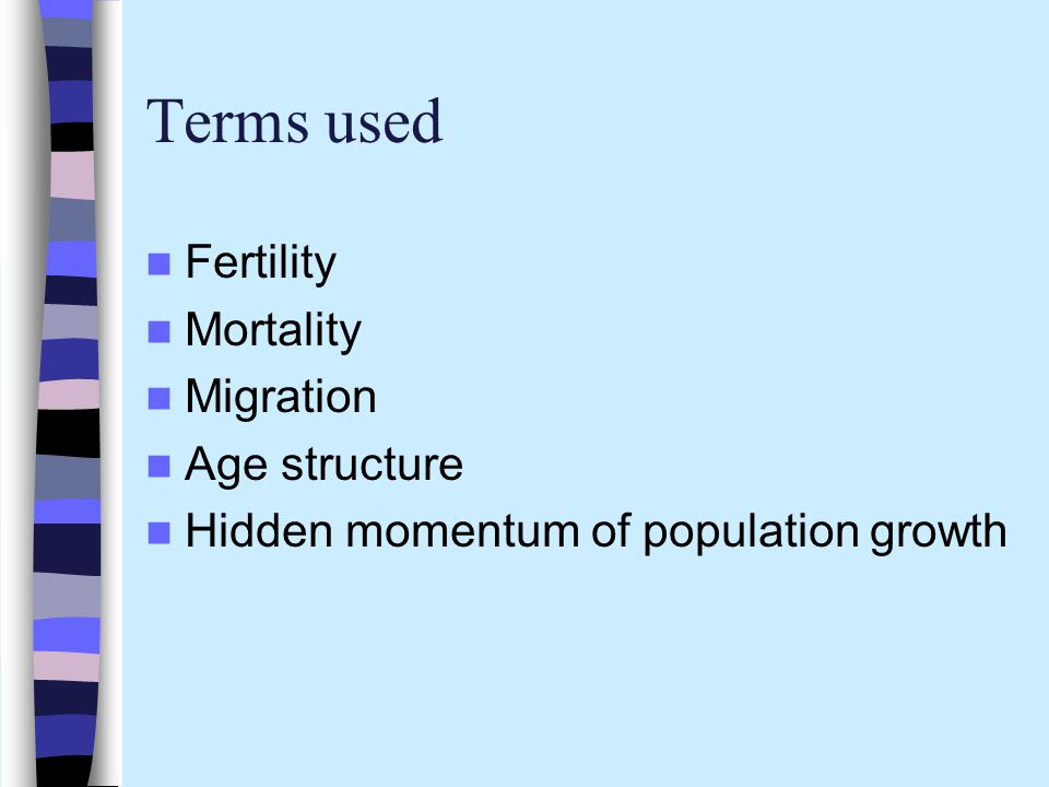 Terms used Fertility Mortality Migration Age structure
