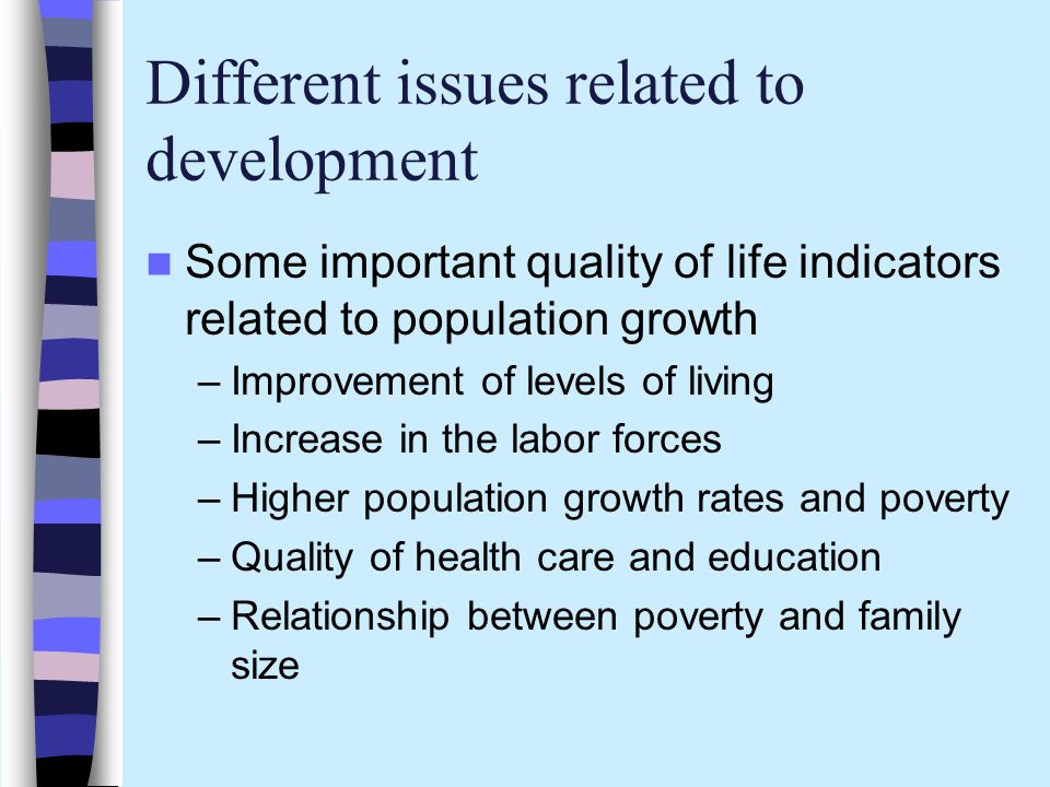 Different issues related to development