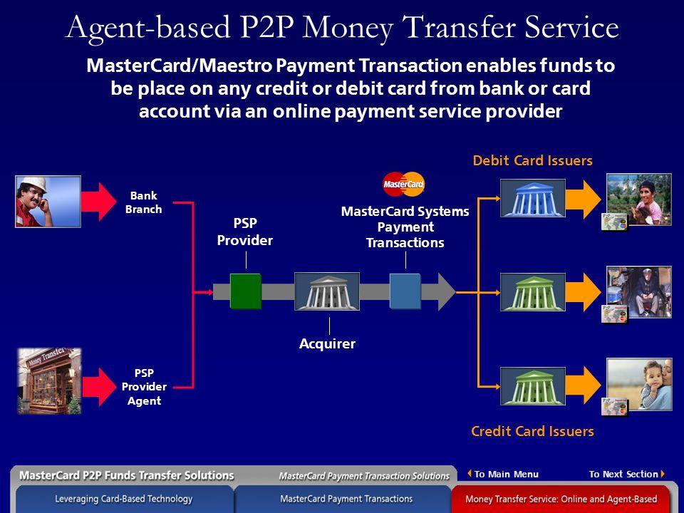 Agent Based P2p Money Transfer Service
