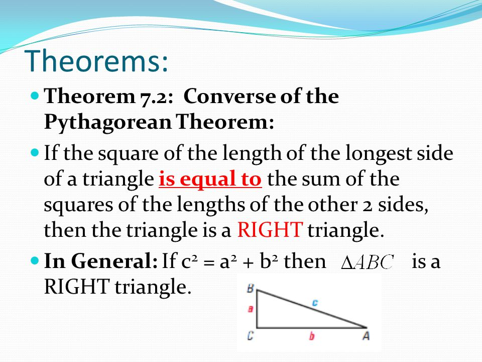 Converse Of The Pythagorean Theorem Definition
