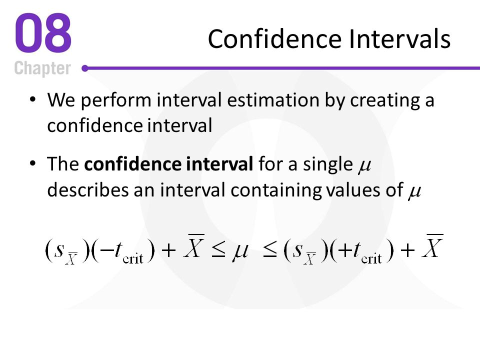 Confidence Intervals We perform interval estimation by creating a confidence interval.