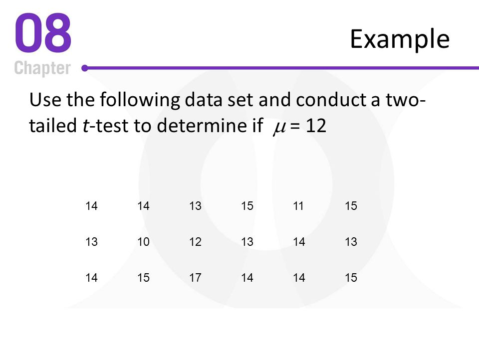 Example Use the following data set and conduct a two-tailed t-test to determine if m =
