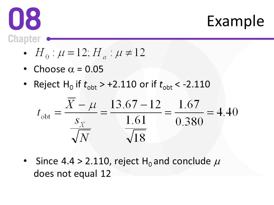 Example Choose a = Reject H0 if tobt > or if tobt <