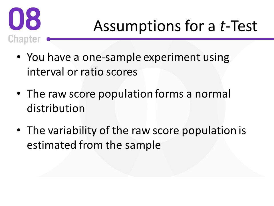Assumptions for a t-Test