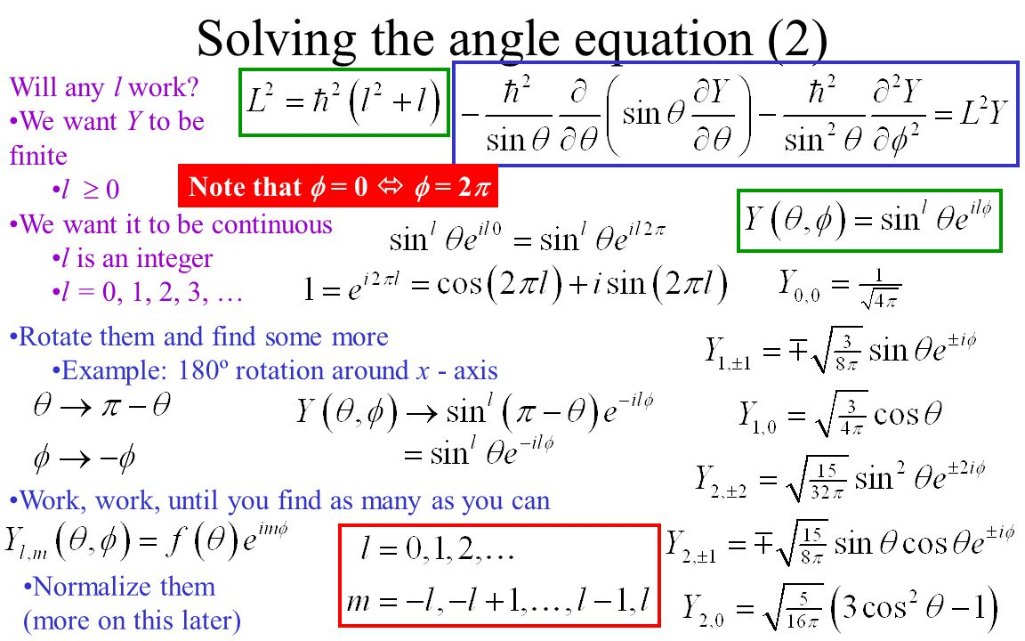 Solving the angle equation (2)