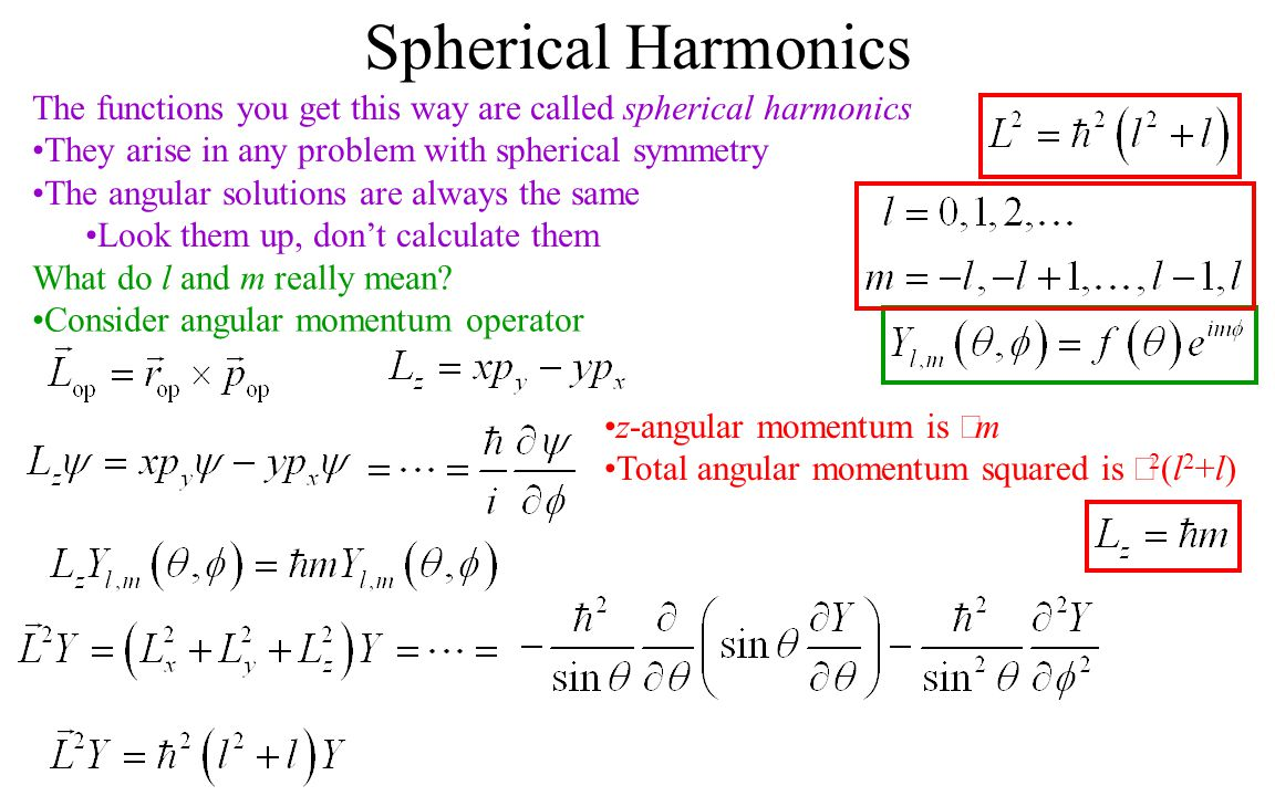 Spherical Harmonics The functions you get this way are called spherical harmonics. They arise in any problem with spherical symmetry.