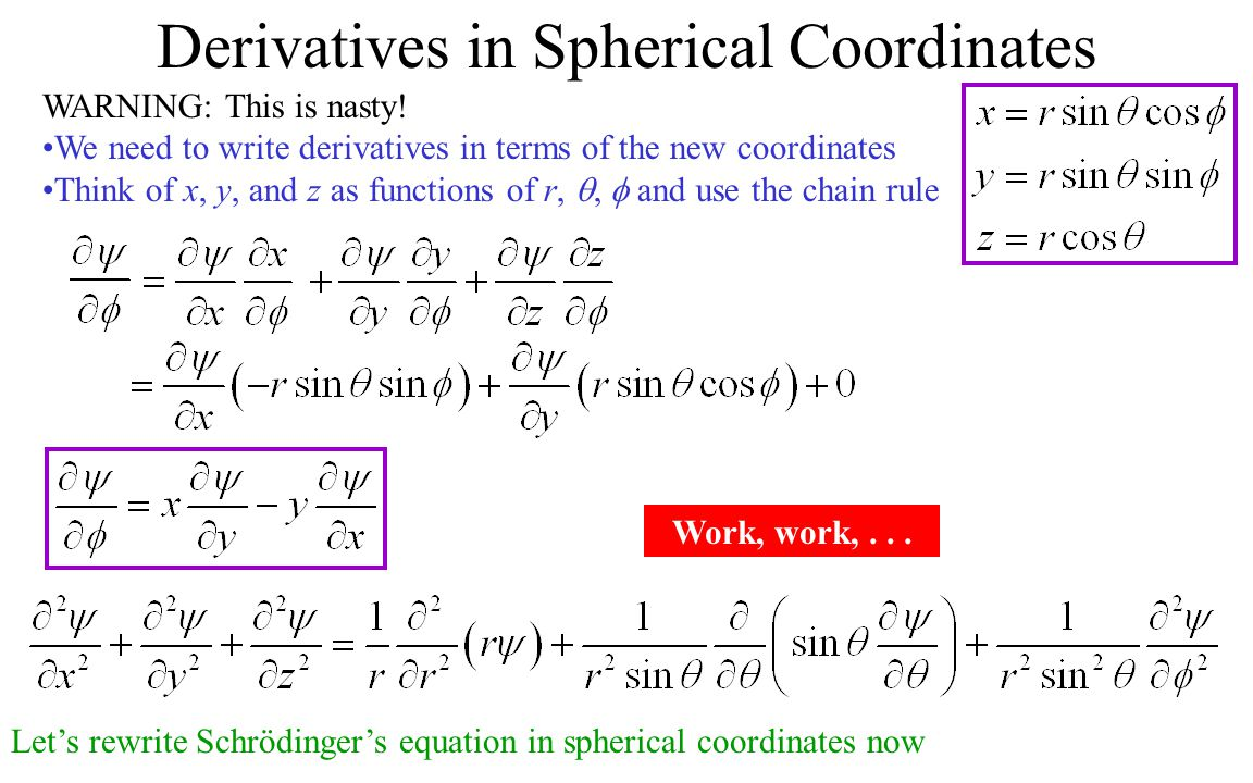 Derivatives in Spherical Coordinates