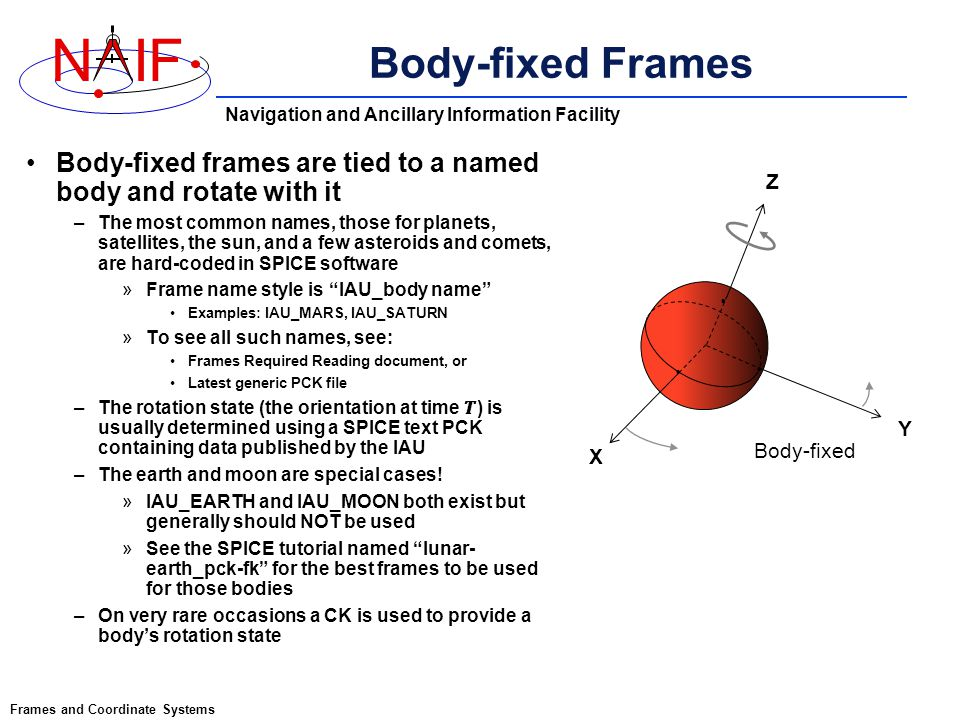 An Overview of Reference Frames and Coordinate Systems in the SPICE ...