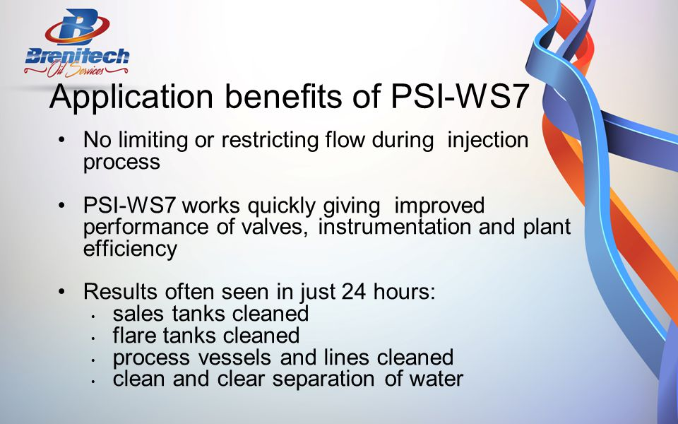 Application benefits of PSI-WS7