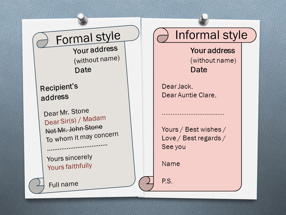 3 informal style formal