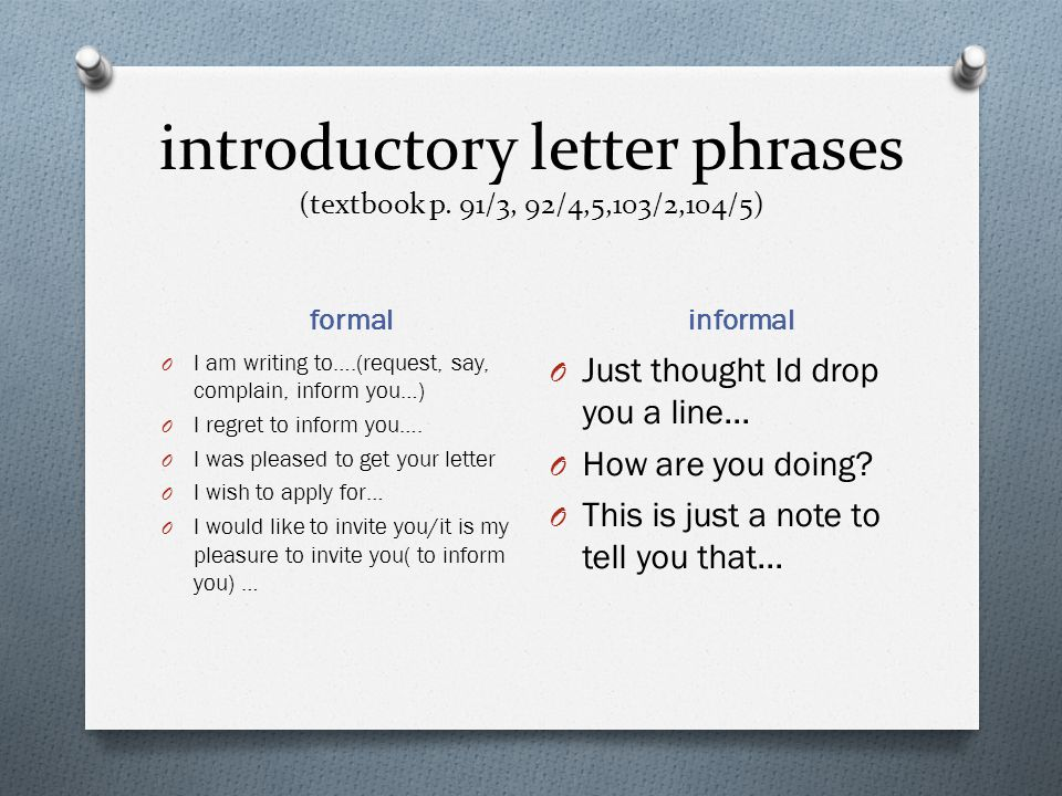 Writing a letter formal or informal ppt video online download introductory letter phrases textbook p 913 9245103 altavistaventures