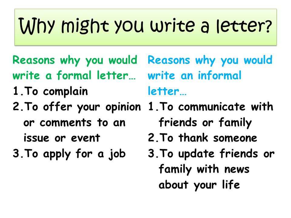 why might you write a letter