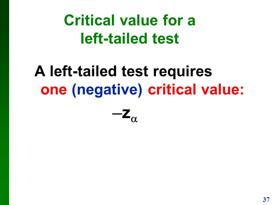 Critical value for a left-tailed test