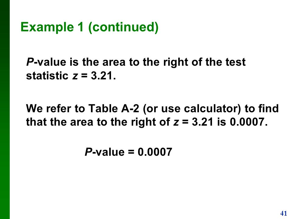 Example 1 (continued) P-value is the area to the right of the test statistic z =