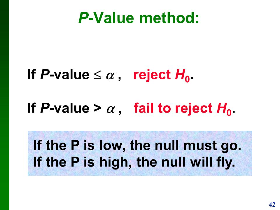 P-Value method: If P-value   , reject H0.