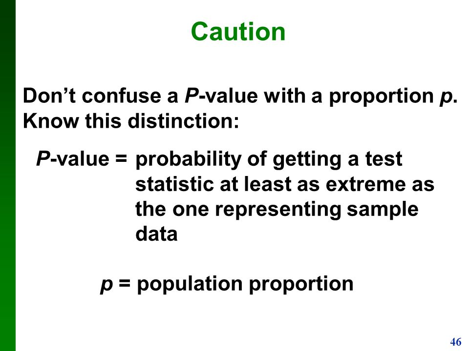 Don't confuse a P-value with a proportion p. Know this distinction:
