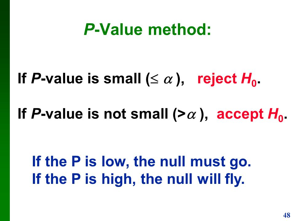 P-Value method: If P-value is small (  ), reject H0.