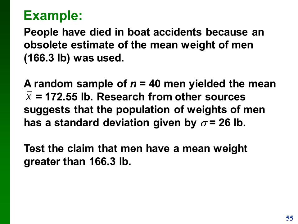 Example: People have died in boat accidents because an obsolete estimate of the mean weight of men (166.3 lb) was used.