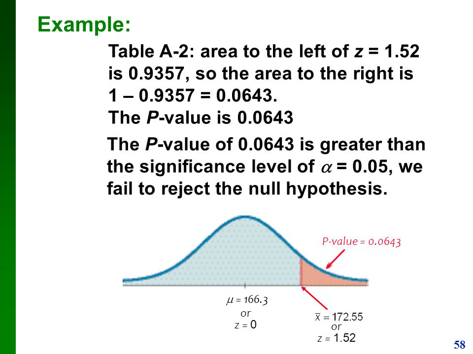 Example: Table A-2: area to the left of z = 1.52 is , so the area to the right is 1 – = The P-value is